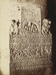 [Close view of carved work on pilaster in Hindu Cave XXI (Ramesvara), Ellora.]